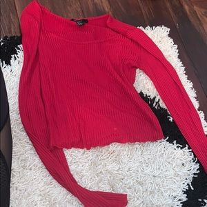 Red long sleeve ribbed top